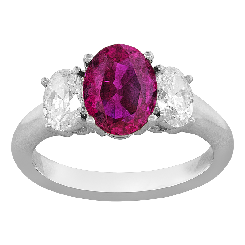 Spark Creations Platinum 3-Stone Ruby and Diamond Ring