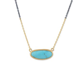 24K Gold and Oxidized Sterling Silver Kingman Turquoise Necklace