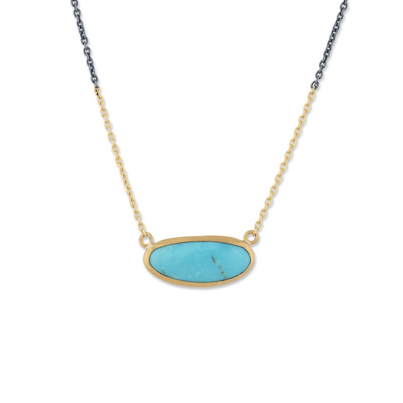 Lika Behar Collection 24K Gold and Oxidized Sterling Silver Kingman Turquoise Necklace