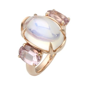 Rose Gold Moonstone and Spinel Ring