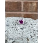 Samuel Sylvio Designs White Gold Pink Sapphire and Diamond Ring