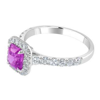 White Gold Pink Sapphire and Diamond Ring