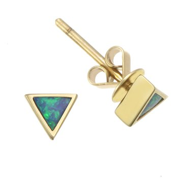 Yellow Gold Triangular Opal Stud Earrings