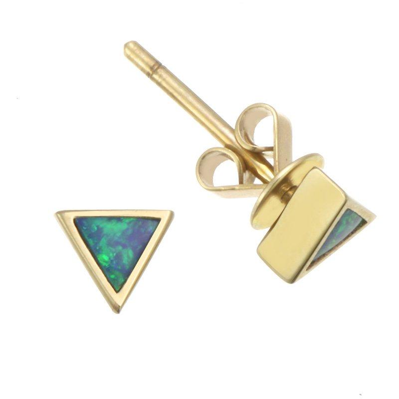 Devon Fashion Yellow Gold Triangular Opal Stud Earrings