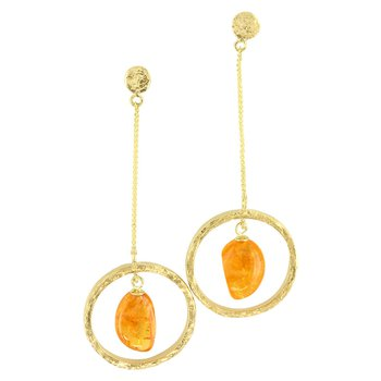 Sharing The Rough Yellow Gold Mandarin Garnet Circle Drop Earrings