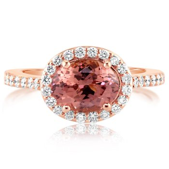 Rose Gold Oval Lotus Garnet Ring