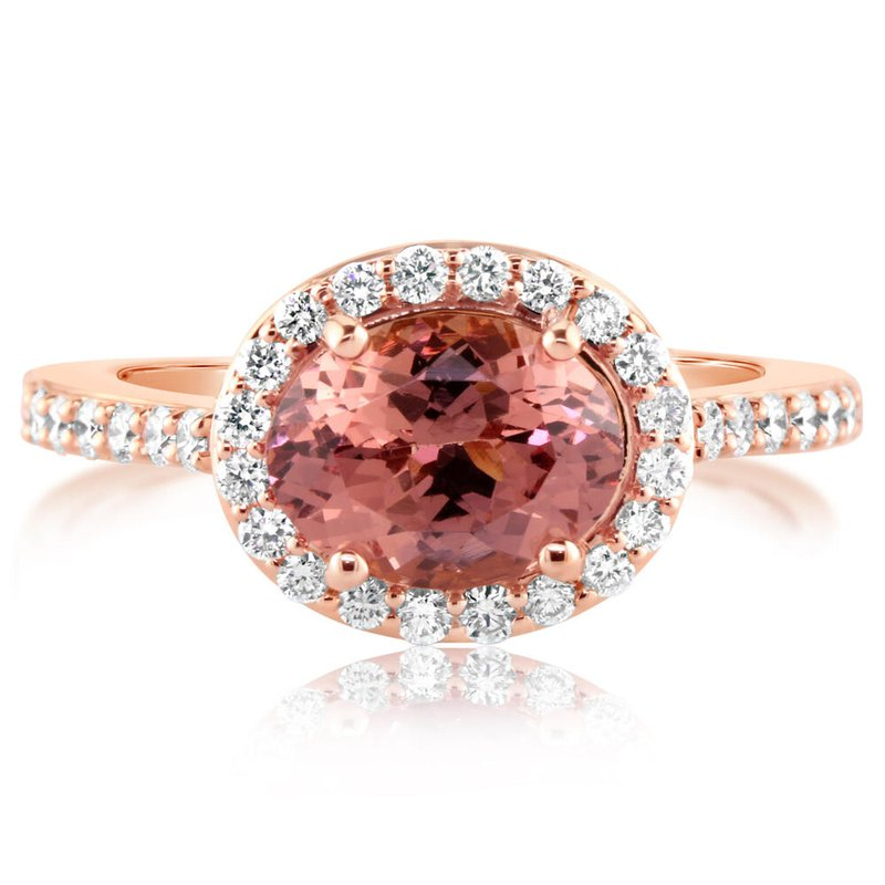 Parle Rose Gold Oval Lotus Garnet Ring