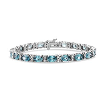 White Gold Blue Zircon and Diamond Bracelet