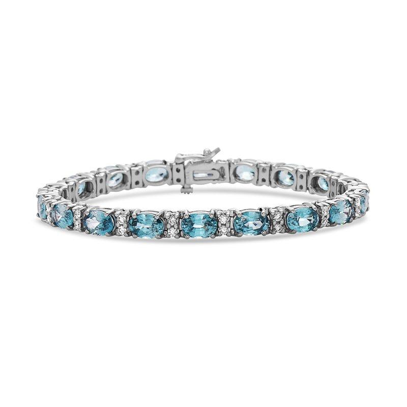 Dilamani White Gold Blue Zircon and Diamond Bracelet