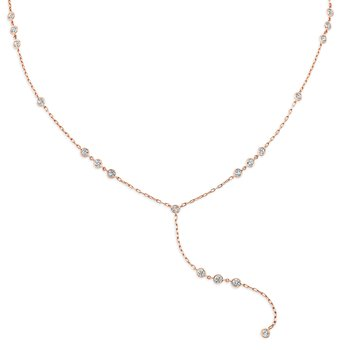Rose Gold Lariat Style Diamond By The Yard Necklace