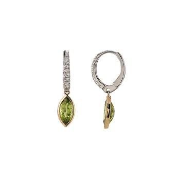 Two Tone Peridot and Diamond Earrings