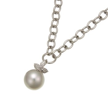 White Gold Necklace with South Sea Pearl and Diamonds