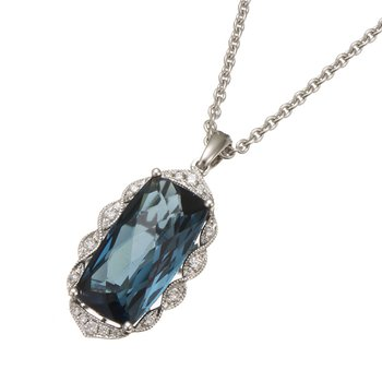 White Gold London Blue Topaz and Diamond Pendant