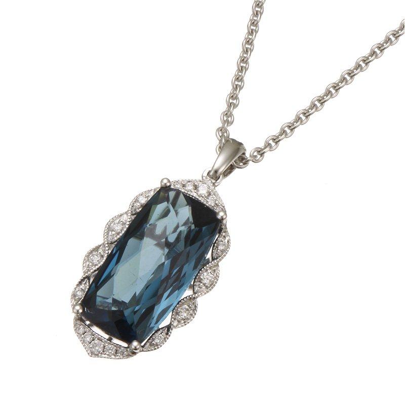 Stanton Color White Gold London Blue Topaz and Diamond Pendant