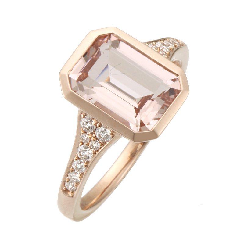 Stanton Color Rose Gold Morganite and Diamond Ring