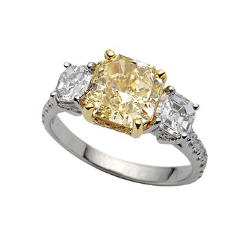 Yellow Gold and Platinum 3-Stone Diamond Ring