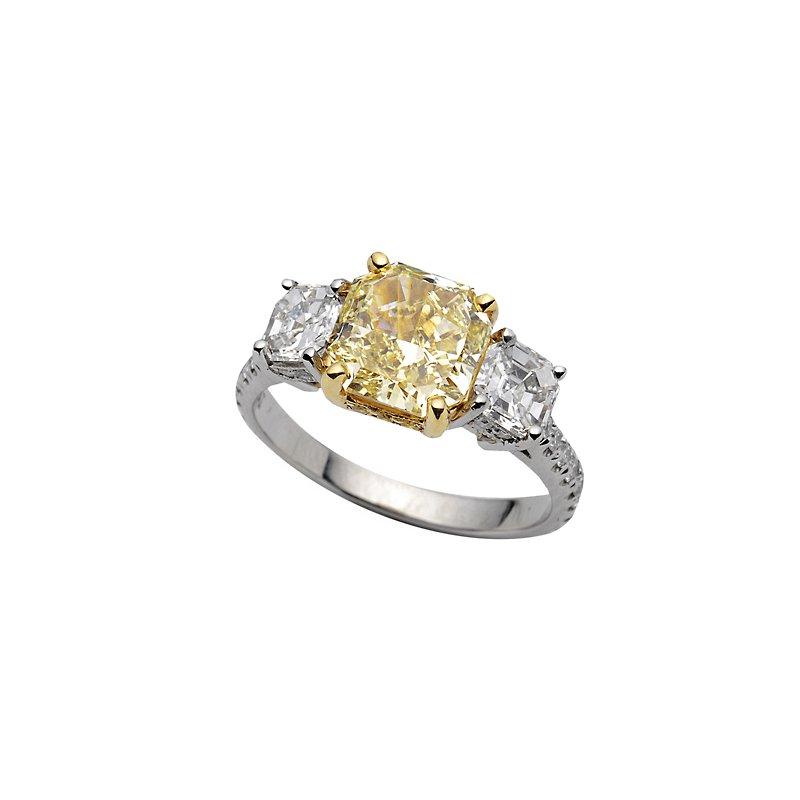Superior Diamond Cutters Yellow Gold and Platinum 3-Stone Diamond Ring