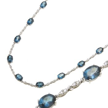 White Gold London Blue Topaz Necklace
