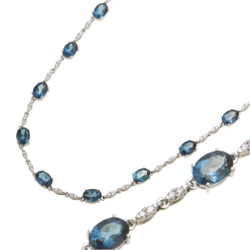 Devon Fashion White Gold London Blue Topaz Necklace