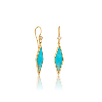 24K Gold Kite Shape Kingman Turquoise Earrings with Diamonds