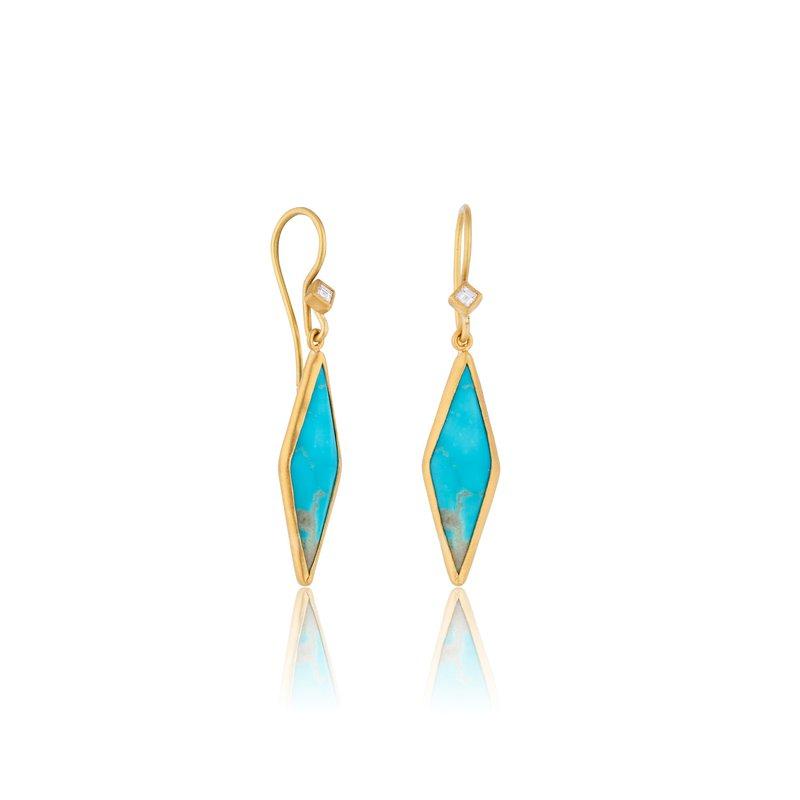 Lika Behar Collection 24K Gold Kite Shape Kingman Turquoise Earrings with Diamonds