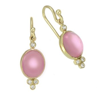 Yellow Gold Pink Tourmaline and Diamond Drop Earrings