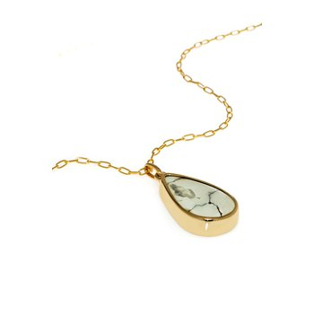 Yellow Gold White Turquoise Pendant with Chain
