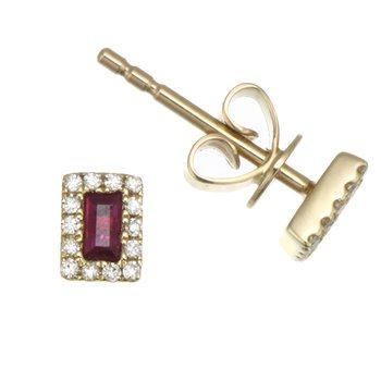 Yellow Gold Tiny Ruby and Diamond Stud Earrings