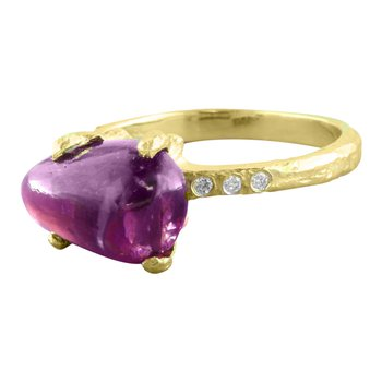 Sharing The Rough Yellow Gold Purple Garnet Ring with Diamonds