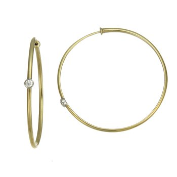 Yellow Gold Hoop Earrings with Diamonds
