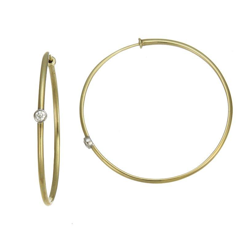 Devon Fashion Yellow Gold Hoop Earrings with Diamonds