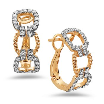 Yellow Gold Diamond Link Hoop Earrings