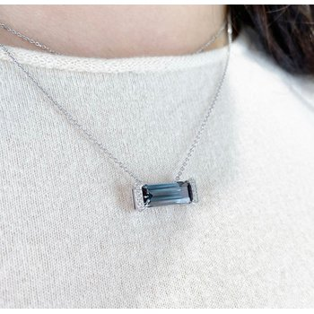 White Gold Grey Spinel and Diamond Pendant with Chain
