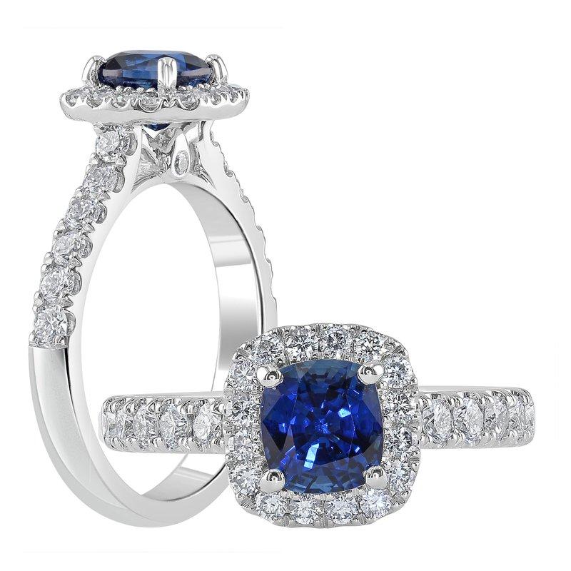 Samuel Sylvio Designs White Gold Blue Sapphire and Diamond Ring