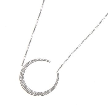 White Gold Diamond Crescent Moon Necklace