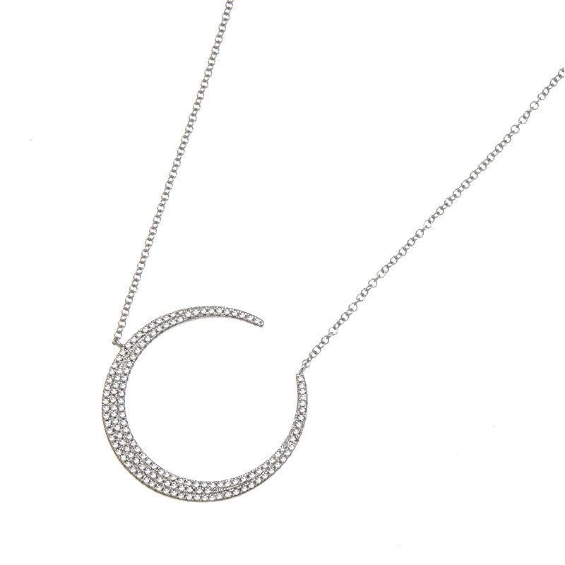 Devon Fashion White Gold Diamond Crescent Moon Necklace