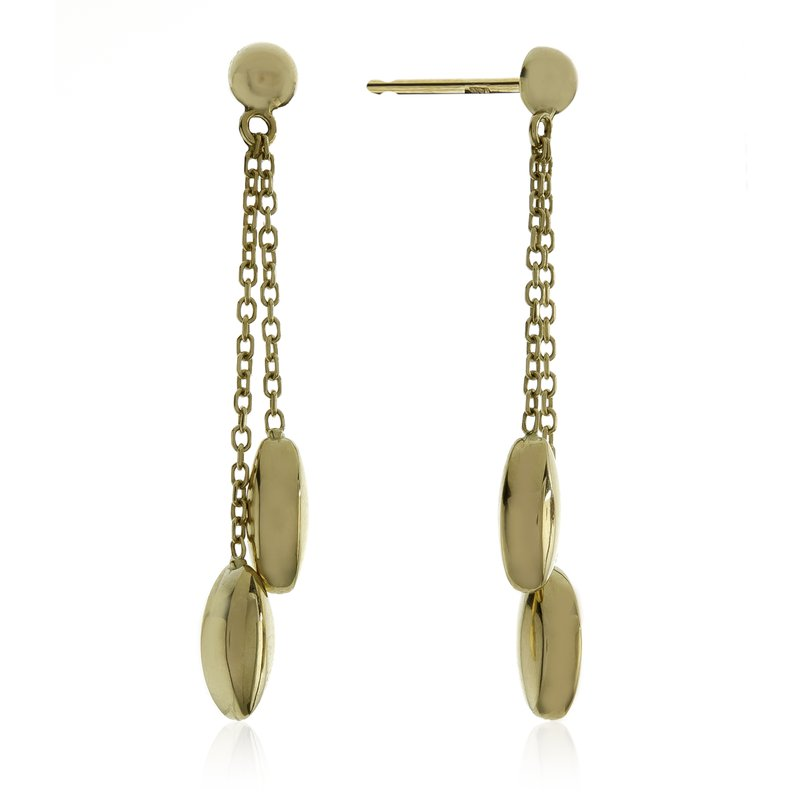 Rudolf Friedmann Yellow Gold Double Chain Drop Earrings