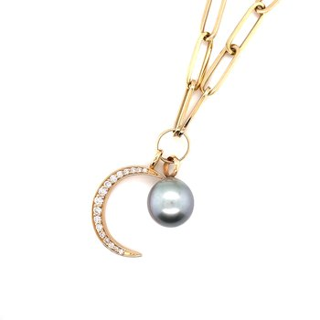 Yellow Gold Diamond Crescent Paper Clip Necklace with Pearl