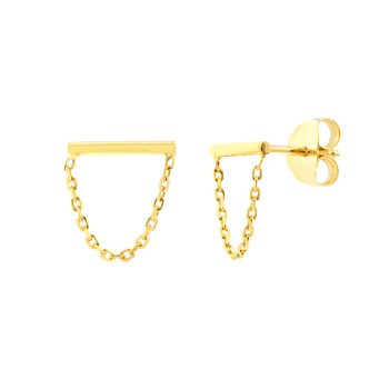 Yellow Gold Bar and Drape Chain Stud Earrings