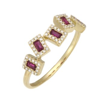 Yellow Gold Asymmetrical Ruby and Diamond Ring