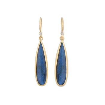 Yellow Gold Labradorite and Onyx Doublet Drop Earrings with Diamonds