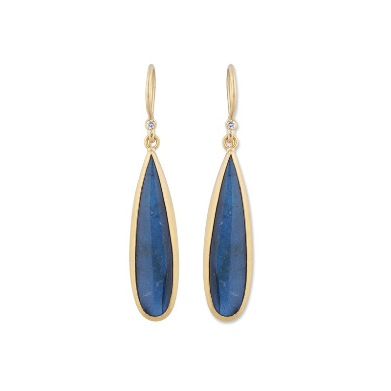 Lika Behar Collection Yellow Gold Labradorite and Onyx Doublet Drop Earrings with Diamonds