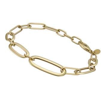 Yellow Gold Elongated Oval Link Bracelet
