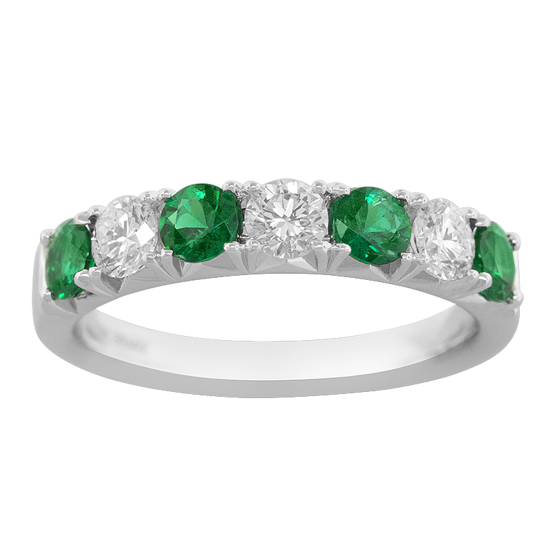 Spark Creations White Gold Emerald and Diamond Band