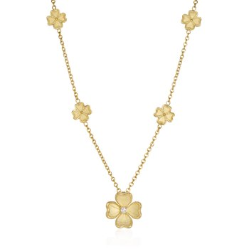 Yellow Gold Flower Station Necklace