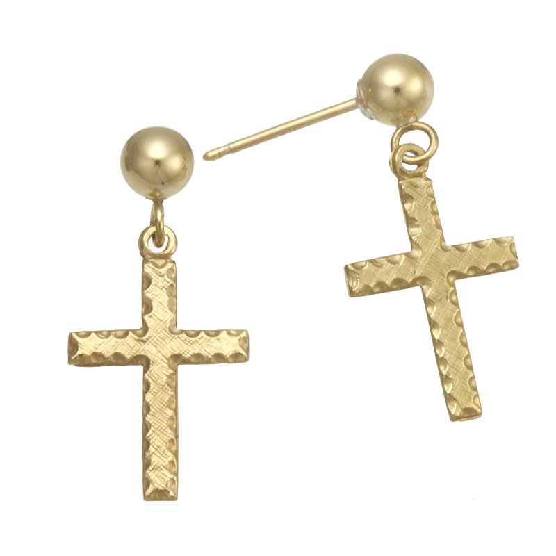Devon Fashion Yellow Gold Cross Dangle Earrings