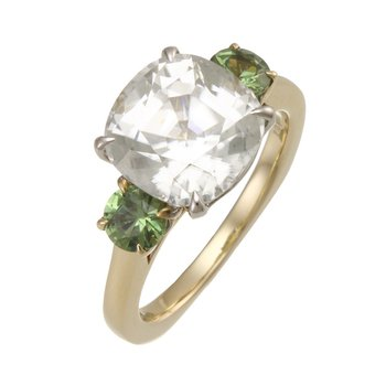 'Pastel Play' Two Tone White Zircon with Demantoid Garnet and Diamond Ring