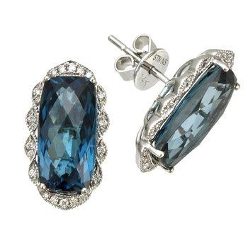 White Gold London Blue Topaz and Diamond Earrings