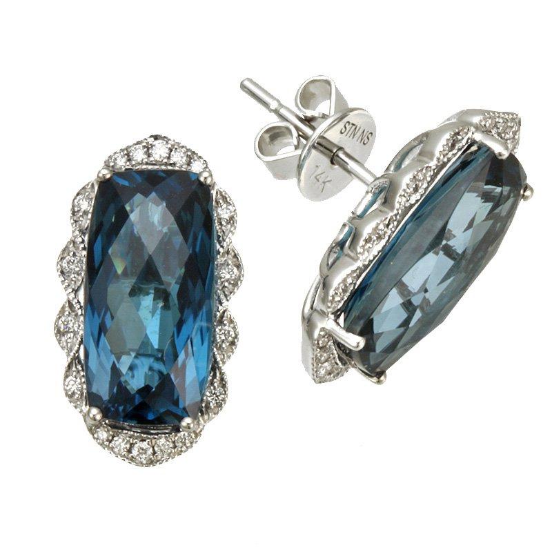 Stanton Color White Gold London Blue Topaz and Diamond Earrings