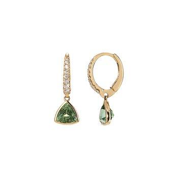 Yellow Gold Mint Tourmaline Earrings with Diamonds